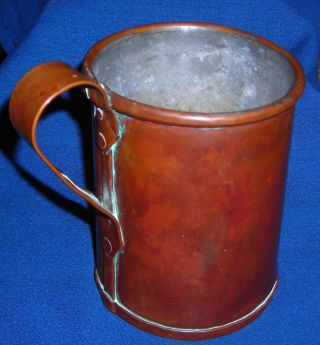 Antique Copper Drinking Cup Tin Lined Early photo