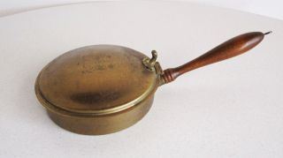 Vintage Bed Warmer Fireplace Accessory Brass Wood Handle Lion Accent Coronet photo