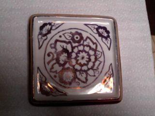 Antique Porcelain Pot Lid / Trivet Germany Rare Square Shaped Copper / Gold Meta photo