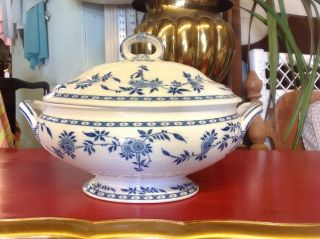 Antique Minton Delft Blue Flow Pattern Porcelain China Oval Covered Tureen photo