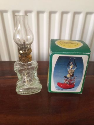 Vintage Glass Oil Lamp Boot Boxed Made In Hong Kong photo