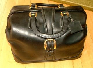 Vtg/antique Varese Italy Doctor - Lawyer Black Leather Briefcase Bag/purse W/key photo