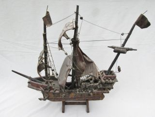 Antique Vintage Handcrafted Sailing Ship Model.  Needs Refurbishing & Restoration photo