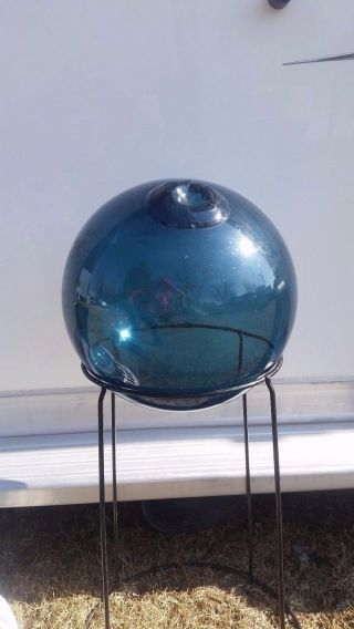 Blue,  Hand Blown,  Authentic,  Japanese Glass Fishing Float photo