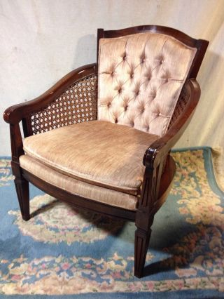 Antique Chair Club Style Button - Tufted Walnut Ships $79 By Greyhound.  Make Offer photo