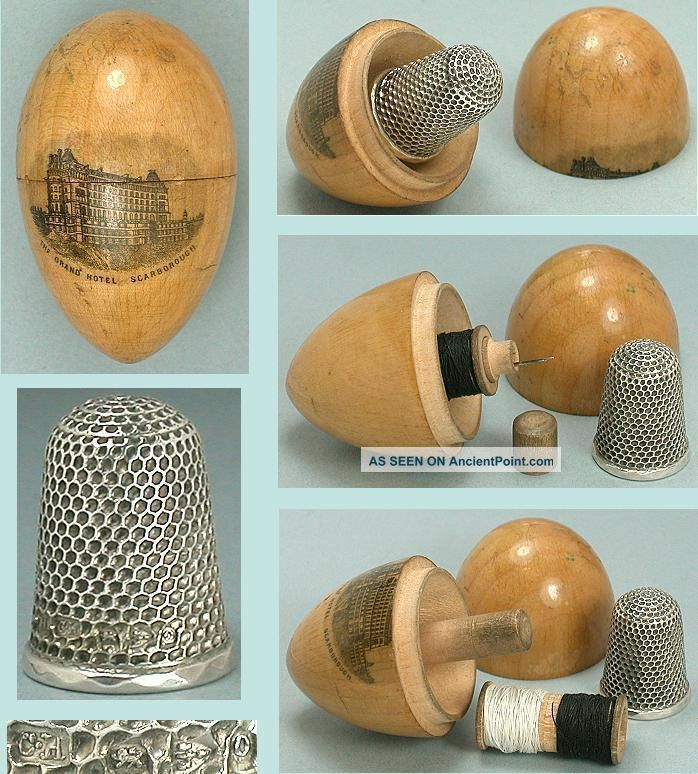 Antique Mauchline Ware Sewing Egg Scarborough 1897 Sterling Silver Thimble Thimbles photo