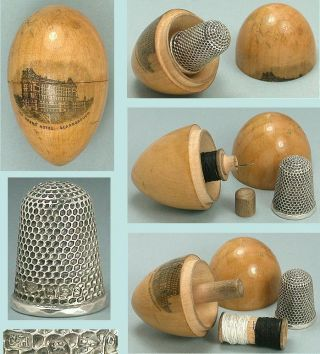 Antique Mauchline Ware Sewing Egg Scarborough 1897 Sterling Silver Thimble photo