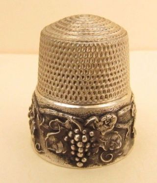 Antique Simons Sterling Silver Grapes Thimble Size 11 photo