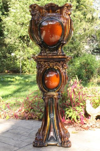 Antique Art Nouveau Majolica Jardiniere Planter On Pedestal Stand photo