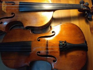 Two Old Violins,  With Bows And Cases photo