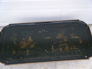 Vintage Authentic Kindel Chinese Asian Coffee Table Hunter Green photo