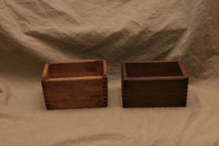 2 Antique Wood Primitive Butter Press Boxes Dairy Parts No Molds photo