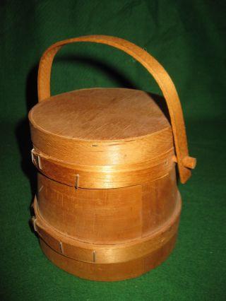 Vintage Wooden Lidded Bucket Firkin Swing Handle Primitive photo