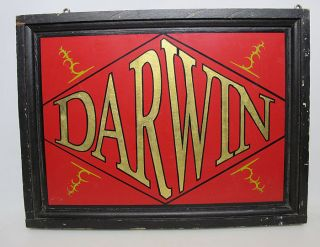 Antique 19th/20th C Painted Darwin Wooden Hanging Two - Sided Store Front Sign Yqz photo