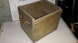 Antique Primitive Hand - Built Wooden Carry Box - Shabby Rustic W/ Handles photo