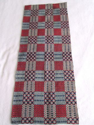 Antique 1800 ' S Blues & Red Woven Coverlet Cutter Piece - 14 X 36