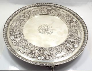 Moore Era Tiffany & Co Sterling Silver Repousse Salver Tray,  Griffins,  Planets photo