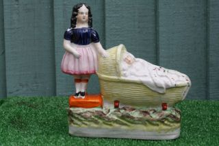 Stunning Mid 19thc Staffordshire Female Figure With Baby Asleep In Crib C1850s photo