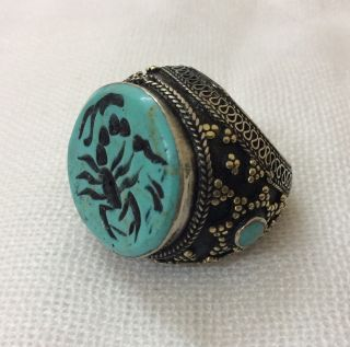 Men ' S Islamic Ring Turquoise Stone Afghan Seal Scorpion Engraved Intaglio 9.  5 Us photo
