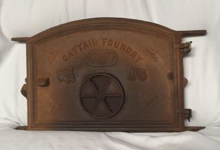 Vintage Cattail Foundry Arch Dome Top Furnace Door Coal Stove Oven Rustic Deco photo