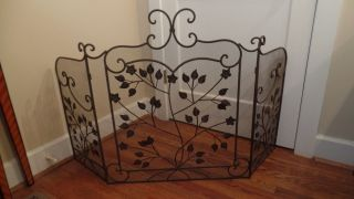 Vintage Wrought Iron Metal Tri - Fold Leaf Scroll Design Fireplace Screen photo