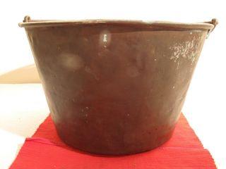 Antique 1880 ' S Brass Fire Log Water Bucket Pail Planter Cracks Dent 14 1/4