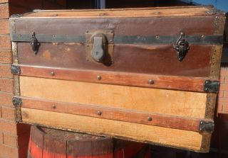 Old 1930s 40s Steamer Trunk Box Travel Wooden Antique Vintage Dome Storage Chest photo