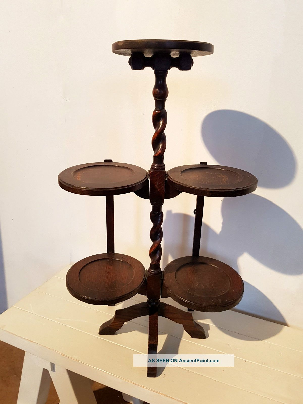 A Large Oak Barley Twist Folding Cake Stand Stands photo