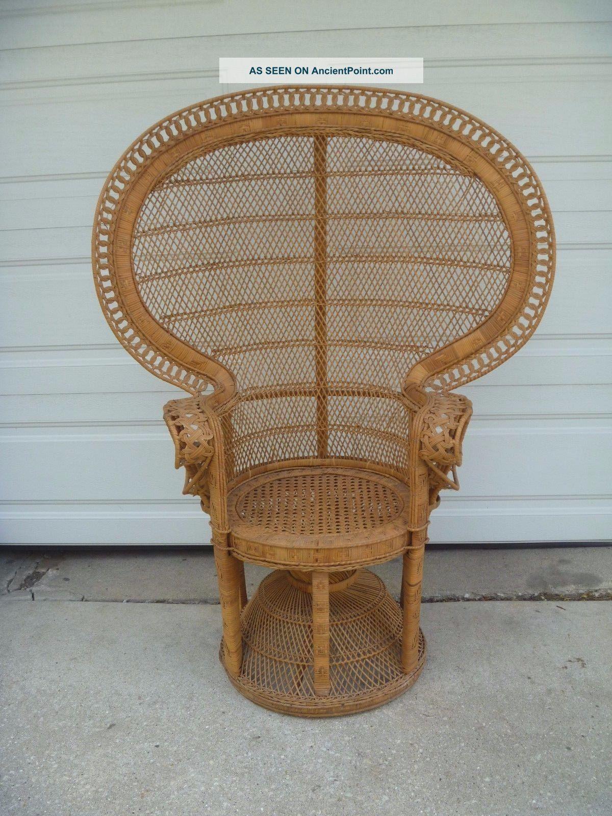 Vintage Peacock Chair Fan Back Large Rattan Wicker Pier