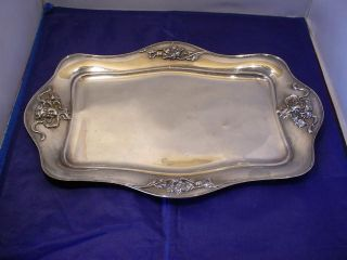 Antique Derby Silver Co.  Quadruple Plate Serving Tray Art Nouveau Lady Floral photo
