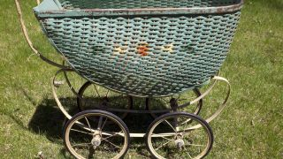 Antique Green Wicker Baby Buggy Carriage Stroller Great Photo Prop Or Display photo