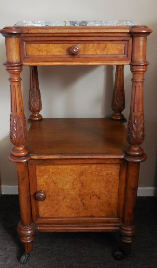 Antique 19th French Night Stand Side End Table Stand Marble Hall Pedestal Louis photo