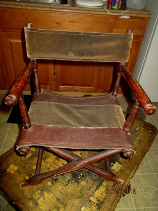 Antique Wooden Folding Chair Small Wood & Velvet Material Storage Find Very Old photo
