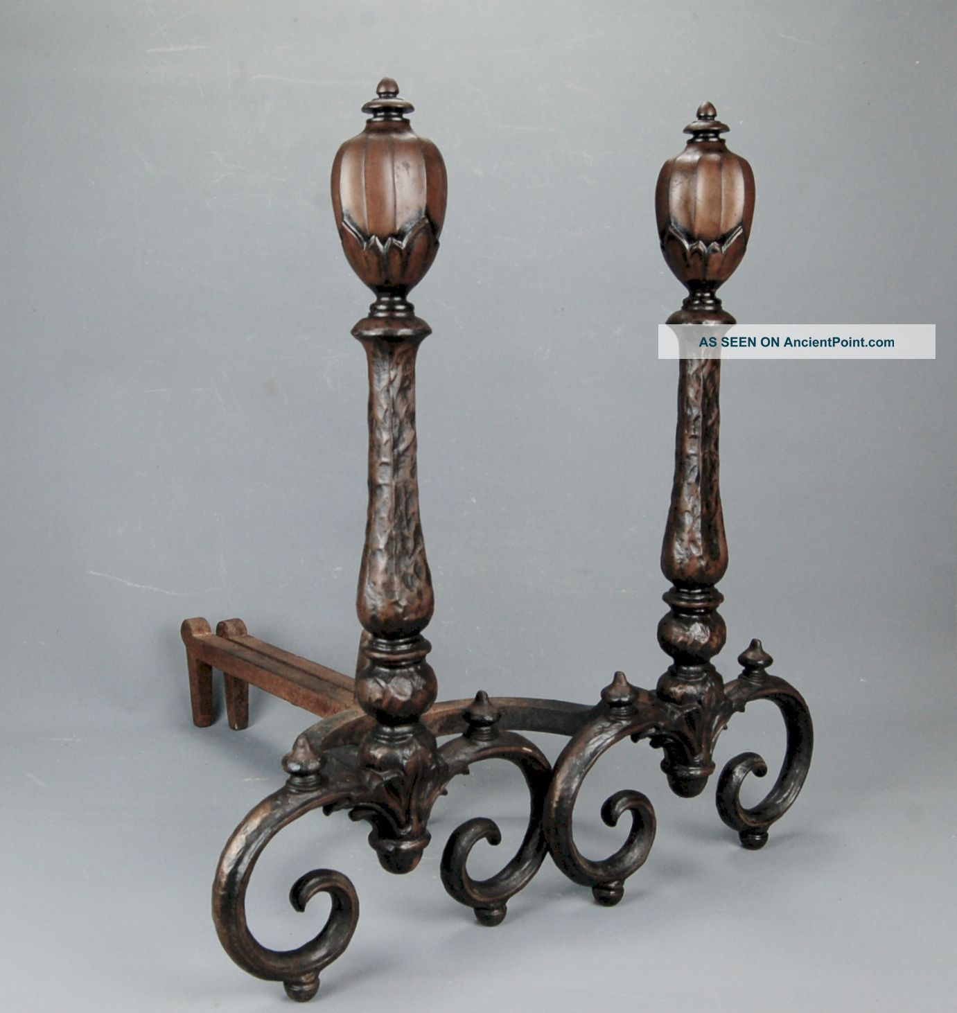 Antique Victorian Hammered Cast Iron Fireplace Andirons Bradley & Hubbard 1880s Hearth Ware photo