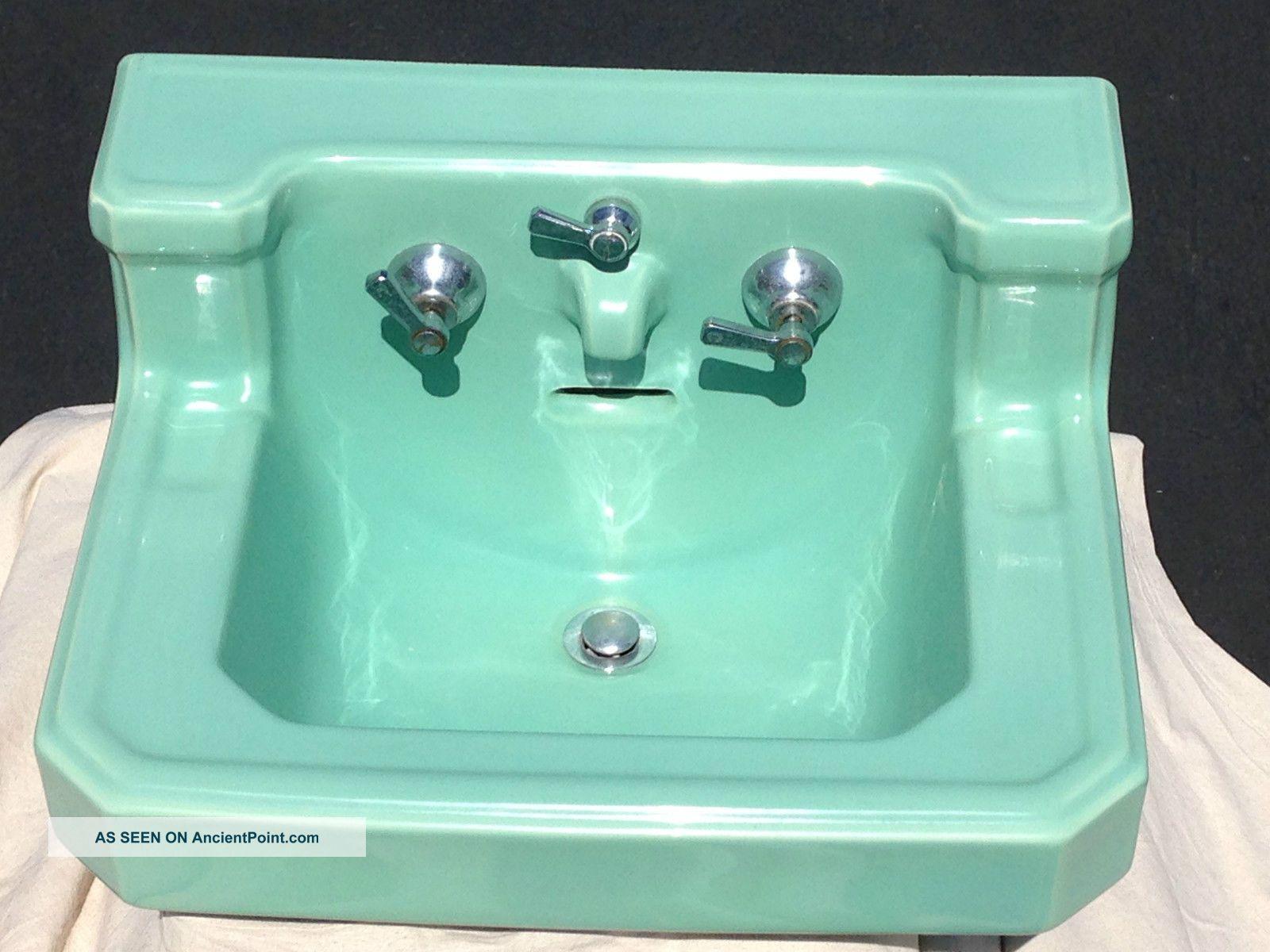 Vintage American Standard Seafoam Green Bathroom Sink Porcelain Integrated Spout Sinks photo