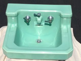Vintage American Standard Seafoam Green Bathroom Sink Porcelain Integrated Spout photo
