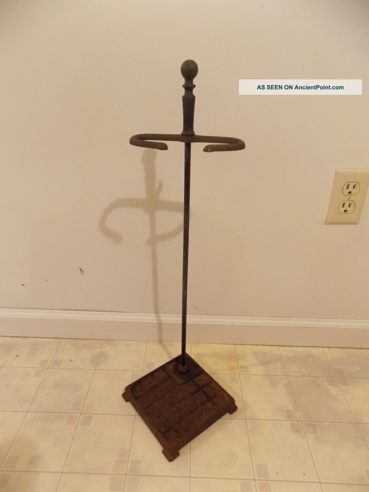 Antique Vintage Art Deco Cast Iron Fireplace Corner Tool Stand,  Ball Top Finial Hearth Ware photo
