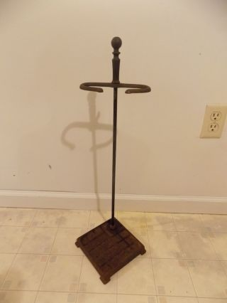Antique Vintage Art Deco Cast Iron Fireplace Corner Tool Stand,  Ball Top Finial photo