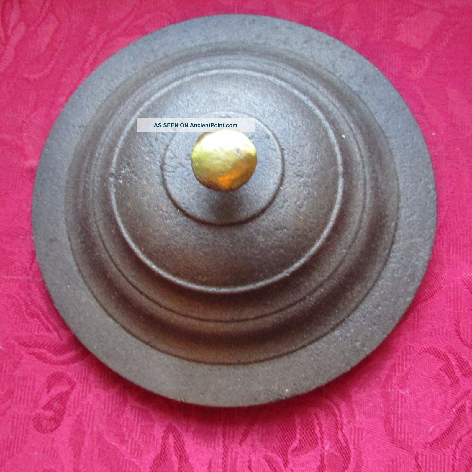 Cast Iron Pot Or Kettle Lid,  Brass Knob Hearth Ware photo
