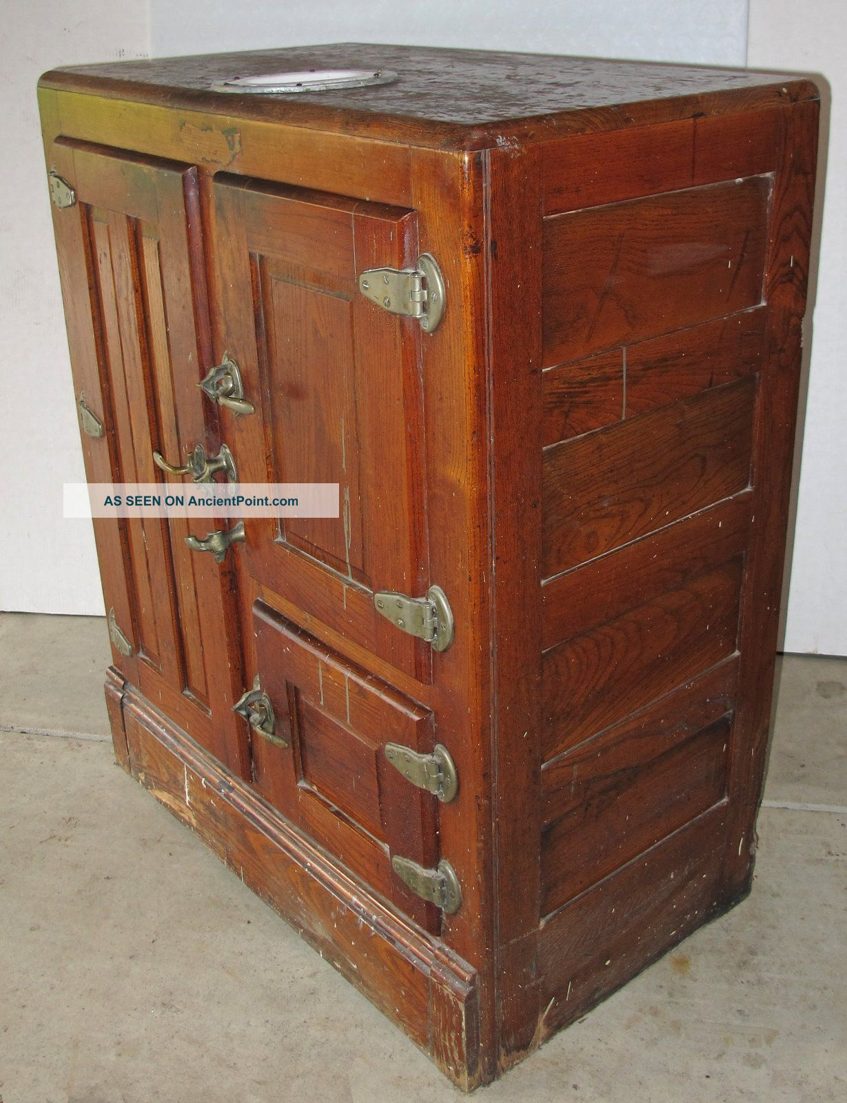 Antique Wood Ice Box,  Three Doors,  Water Reservoir Unrestored Ice Boxes photo