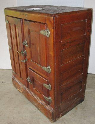 Antique Wood Ice Box,  Three Doors,  Water Reservoir Unrestored photo