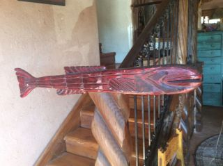 Big Awesome Vintage 38 Inch Folk Art Advertsing Wooden Carved Fish photo