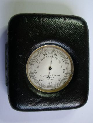A Negretti & Zambra Pocket Barometer & Altimeter In Display Case :working photo