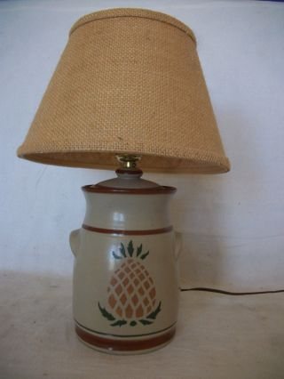 Small Stoneware Table Lamp With Pineapple Design photo
