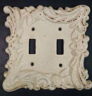 Light Switch Wall Cover Plate - Vintage Heavy Ornate Victorian Cast Iron - Vgc photo