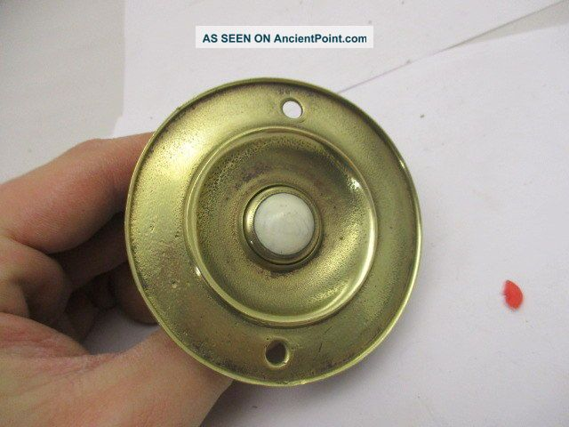 Victorian Brass Door Bell Porcelain