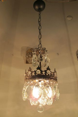 Antique French Basket Style Small Crystal Chandelier Ceilling Lamp Light 1940 ' S photo