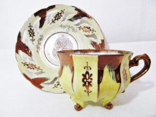 Vintage Tea Cup Saucer Lusterware Cutouts Gold Yellow Hand Painted 1205 photo