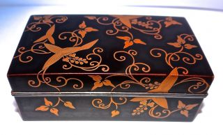 Antique? Lacquered Gold Arabesque Asian Box Japanese Circa 1800? Wood & Sterling photo