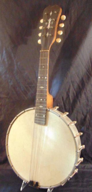 Antique 8 String Open Back Banjo Ukulele W/ Metal Body & Mop Inlaid Head photo